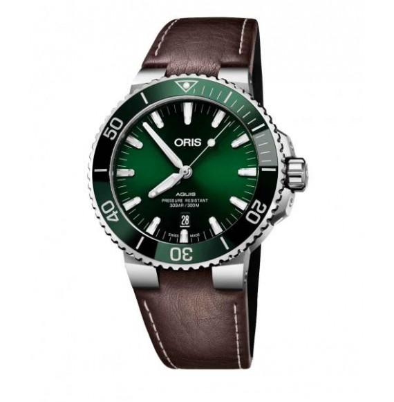 Oris Aquis Date verde piel 43,5 mm