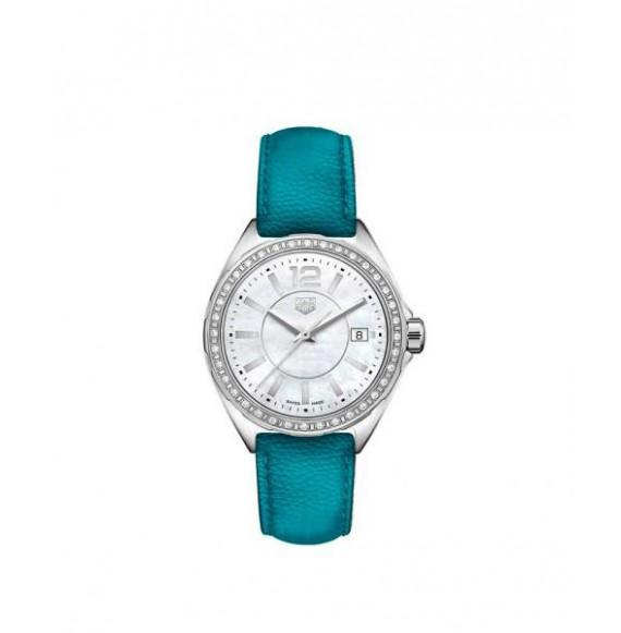 TAG HEUER FORMULA 1 lady diamonds piel azul celeste 35 mm