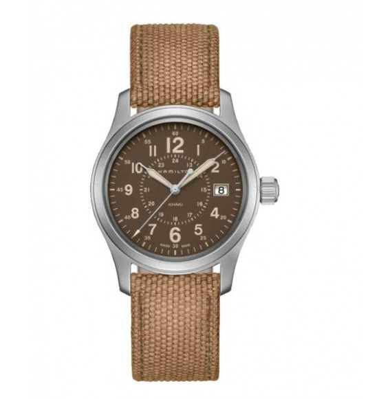 hamilton khaki field quartz 38 mm marron textil beige