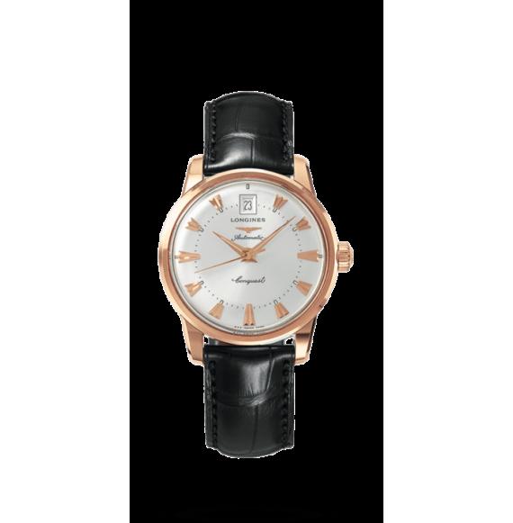 Reloj negro Longines Heritage L1.611.8.78.4 automático de oro rosa para mujer