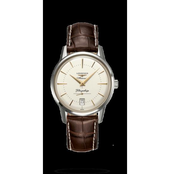 Reloj marrón Longines Heritage L4.795.4.78.2 automático de acero inoxidable unisex
