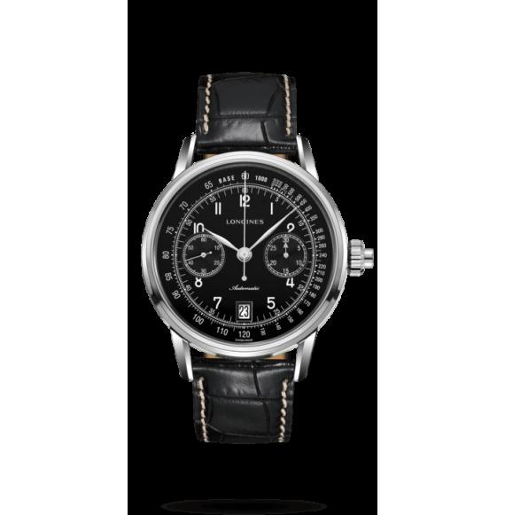 Reloj negro Longines Heritage L2.800.4.53.0 automático con cronógrafo para hombre