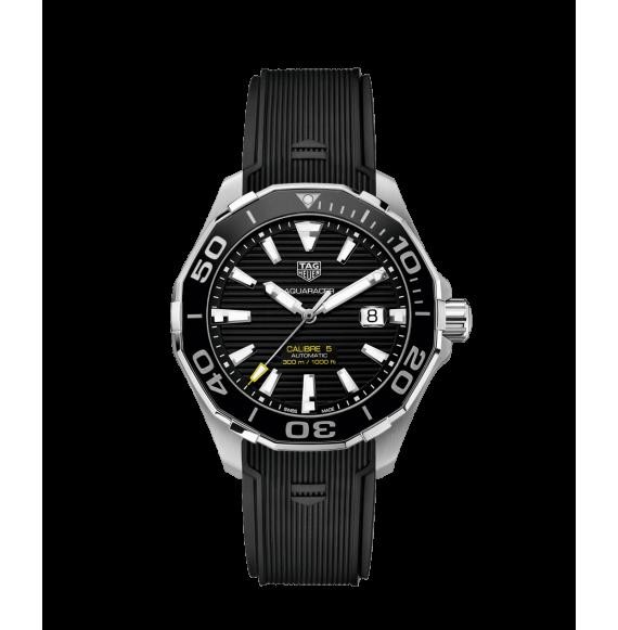 Reloj caucho negro Tag Heuer Aquaracer WAY201A.FT6142 automático de acero satinado para hombre