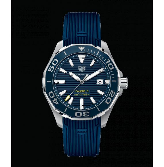 Reloj azul Tag Heuer Aquaracer WAY201B.FT6150  automático de acero satinado pulido para hombre