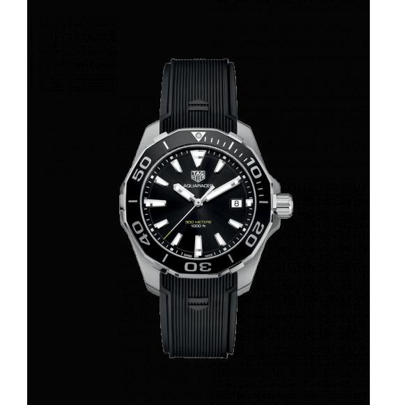 Reloj negro Tag Heuer Aquaracer WAY111A.FT6151  cuarzo de acero satinado pulido para hombre