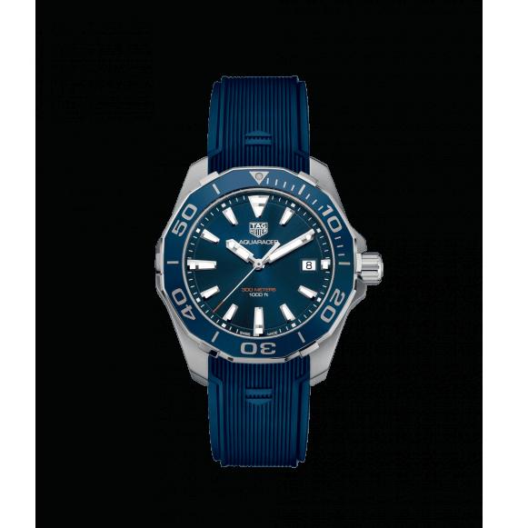 Reloj azul Tag Heuer Aquaracer  WAY111C.FT6155  cuarzo de acero satinado pulido para hombre