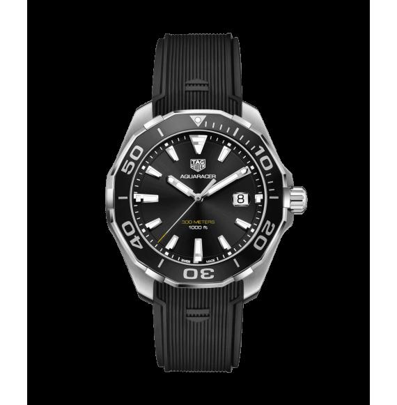 Reloj negro Tag Heuer Aquaracer WAY101A.FT6141  cuarzo de acero satinado pulido para hombre