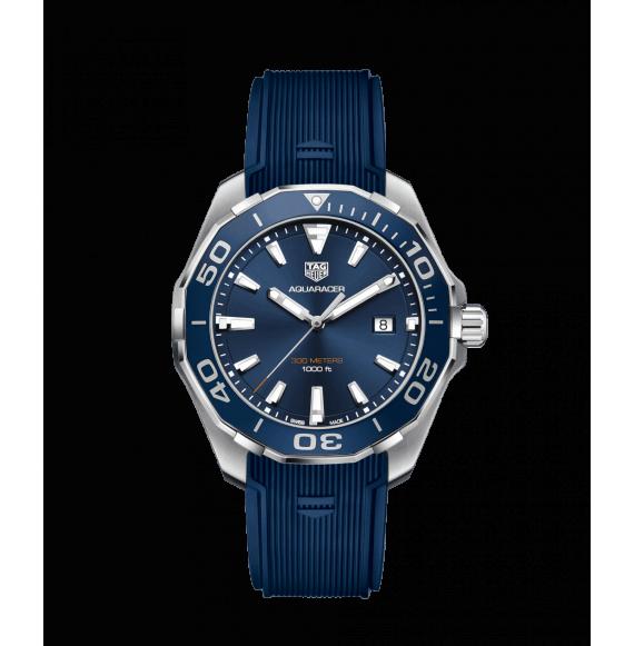 Reloj azul Tag Heuer Aquaracer WAY101C.FT6153  cuarzo de acero satinado pulido para hombre