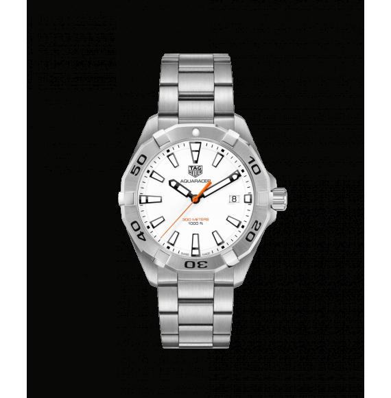 Reloj blanco Tag Heuer Aquaracer WBD1111.BA0928 cuarzo de acero satinado pulido para hombre