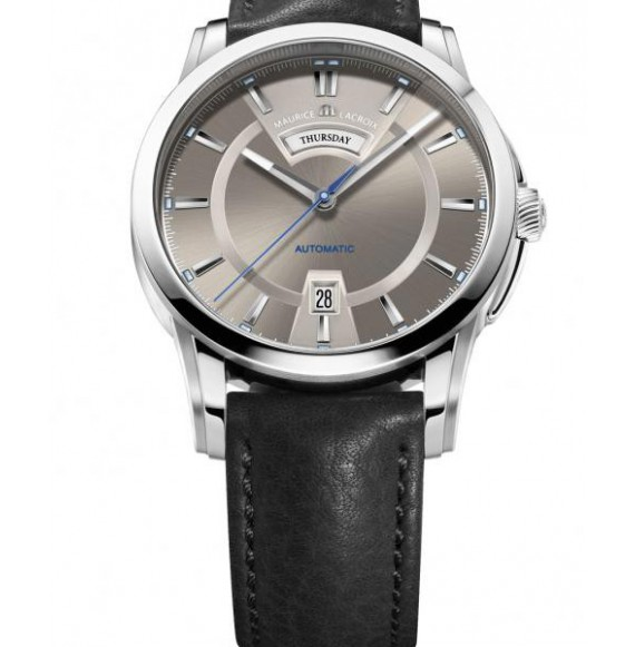 MAURICE  LACROIX  PONTOS DAY DATE BROWN DIAL