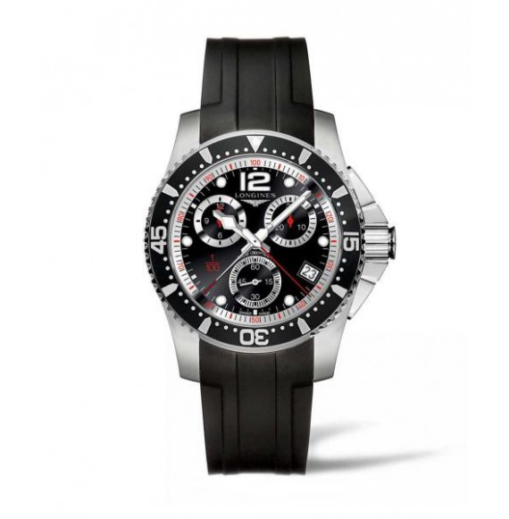 Longines Hydroconquest Chronograph 41MM negro caucho