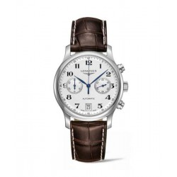 longines master collection chronograph esfera plateada