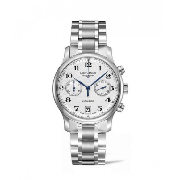 longines master collection chronograph esfera plateada