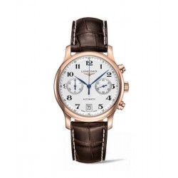 longines master collection chronograph esfera plateada oro rosa