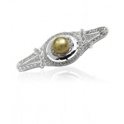 BROCHE  DE ORO BLANCO 18 K  Y DIAMANTES  CON PERLA GOLDEN CENTRAL Ref: R44149
