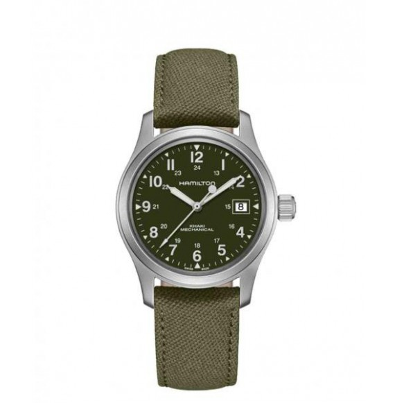 hamilton khaki field mechanichal verde canvas 38 mm