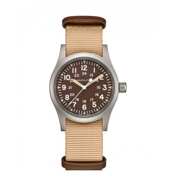 Hamilton khaki field mechanichal marron beige nato 38 mm