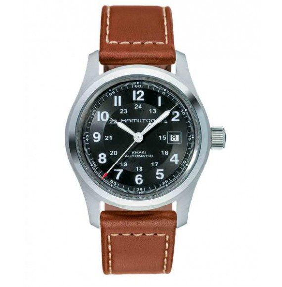 hamilton khaki field  negro piel marron 42 mm