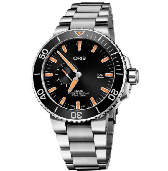 Oris aquis small  second date negro acero 45,5 mm.