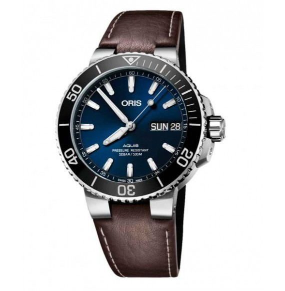 oris  aquis big day date azul piel marron 45,5 mm