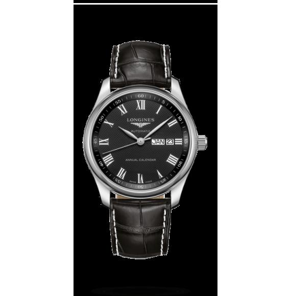 Reloj Longines L2.910.4.51.7 Master Collection de cuero negro para hombre