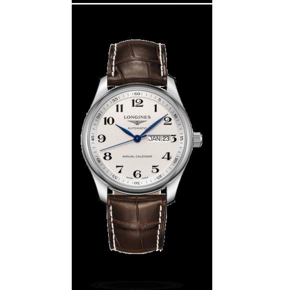Reloj Longines L2.910.4.78.3 Master Collection de piel caimán marrón para hombre