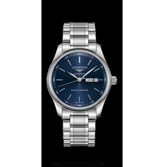 Reloj Longines L2.910.4.92.6 Master Collection brazalete de acero inoxidable y esfera azul para hombre