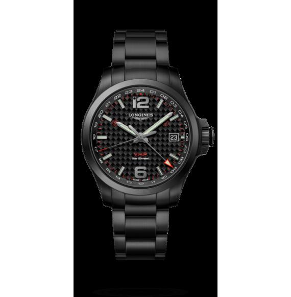 Reloj Longines L3.718.2.66.6 Conquest V.H.P GMT de brazalete negro para hombre