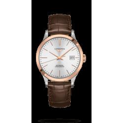 Reloj Longines Record Collection automático con brazalete de piel marrón para hombre