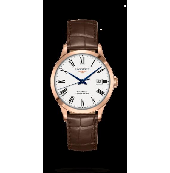 Reloj Longines Record Collection con brazalete piel marrón para hombre.