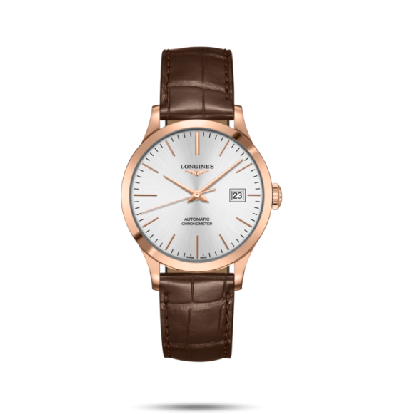 Reloj Longines Record Collection L2.820.8.72.2 automático de piel marrón para hombre.
