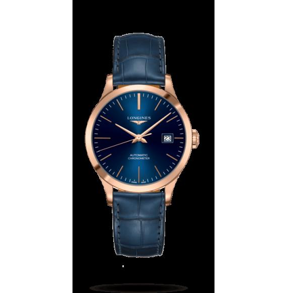 Reloj automático Longines Record Collection L2.820.8.92.2 con pulsera de piel de caimán azul unisex