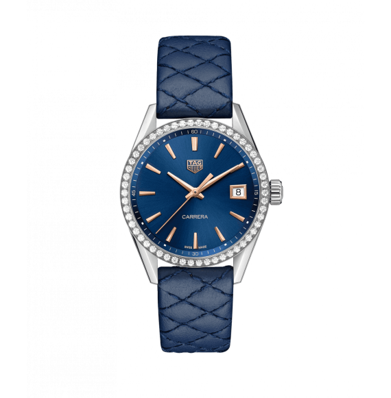 Reloj cuarzo Tag Heuer Carrera WBK1317.FC8259 de piel azul para señora