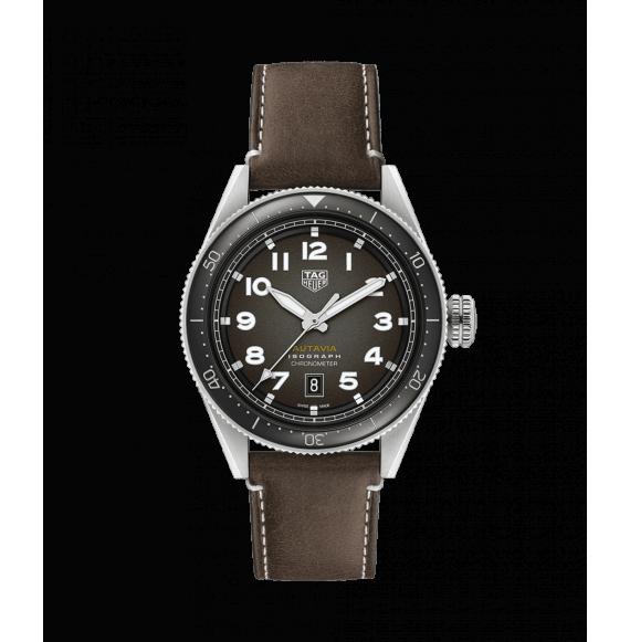 Reloj automático Tag Heuer Autavia Isograph WBE5110.FC8266 de piel marrón para hombre
