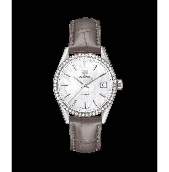 Reloj Tag Heuer Carrera WBK2316.FC8258 automático de piel de cocodrilo marrón para mujer