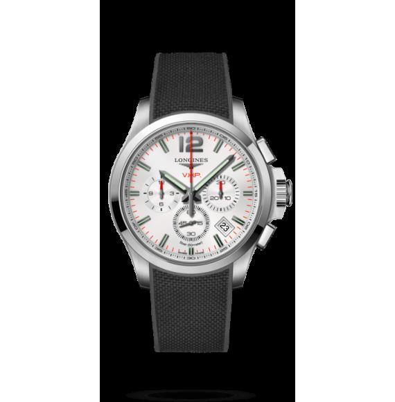 Reloj  negro Longines Conquest  VHP L3.717.4.76.9 cuarzo con cronógrafo para hombre.