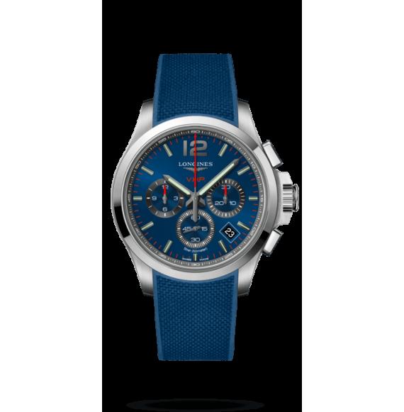 Reloj azul Longines Conquest VHP L3.717.4.96.9 cuarzo con cronógrafo para hombre