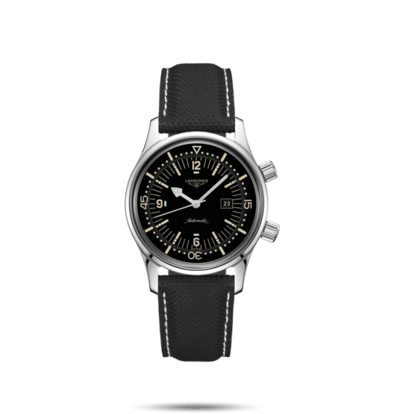 Reloj Acero Longines Heritage L3.374.4.50.0 automático de piel negra para mujer