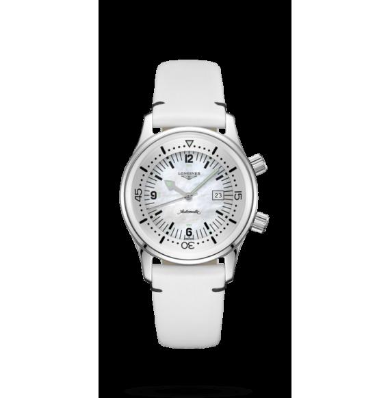 Reloj acero Longines Heritage L3.374.4.80.0 automático de piel blanca para mujer