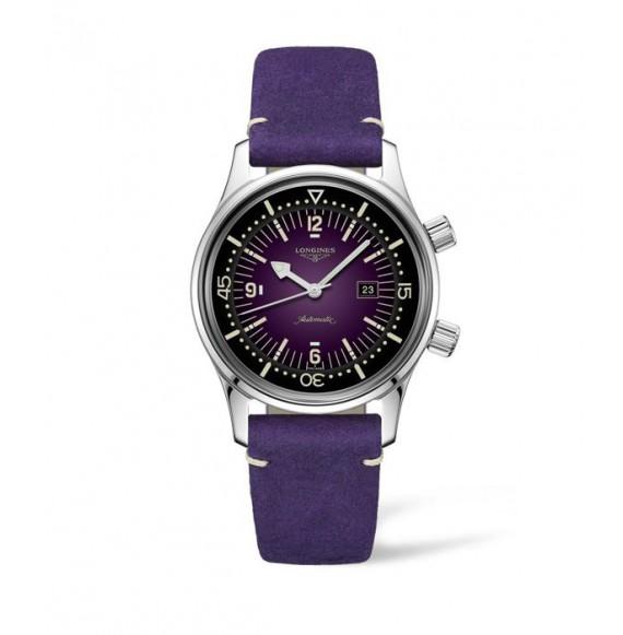 Reloj violeta Longines Heritage Legend L3.374.4.90.0  automático de acero inoxidable para mujer