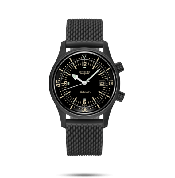 Reloj Longines Heritage L3.774.2.50.9 automático de caucho negro Legend Diver