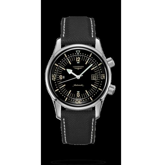 Reloj negro Longines Heritage Legend Diver L3.774.4.50.0 automático de acero inoxidablepara hombre