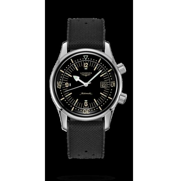 Reloj negro Longines Heritage Legend Diver L3.774.4.50.9 automático de acero inoxidable para hombre