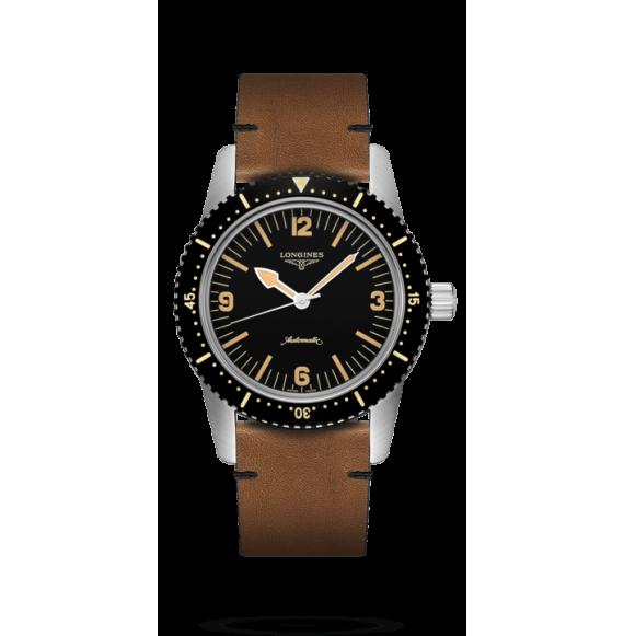Reloj marrón Longines Heritage Skin Diver L2.822.4.56.2  automático de acero inoxidable para hombre