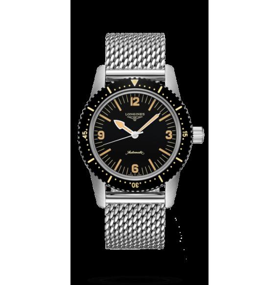 Reloj negro Longines Heritage L2.822.4.56.6 Skin Diver automático de acero inoxidable para hombre