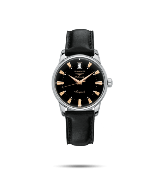 Reloj negro Longines Conquest Heritage L2.822.4.56.9 automático de acero inoxidable para mujer