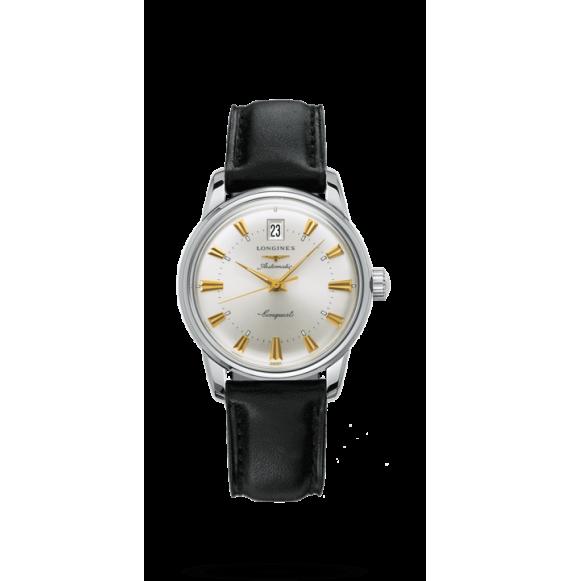 Reloj negro Longines Conquest Heritage automático de acero inoxidable para mujer