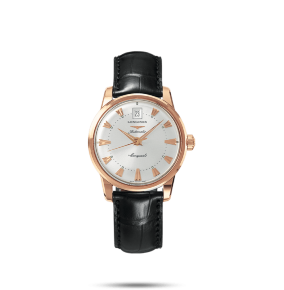 Reloj negro Longines conquest Heritage L1.611.8.78.4 automático de oro rosa para mujer