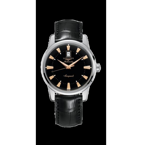 Reloj negro Longines Heritage L1.645.4.52.4  automático de acero inoxidable para hombre