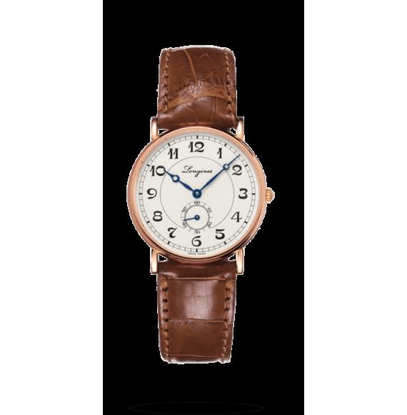 Reloj marrón Longines Heritage L4.767.8.73.2 automático de oro rosa para mujer